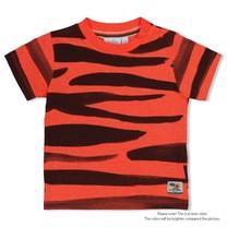 jongens T-shirt aop neon koraal - happy camper