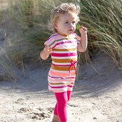 Feetje jurk streep neon koraal - whoopsie daisy