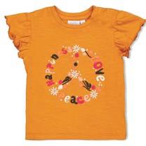 meisjes T-shirt peace okergeel - whoopsie daisy