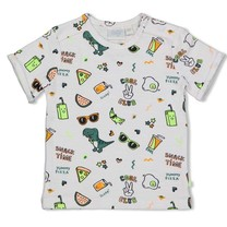 jongens T-shirt aop wit - snacktime