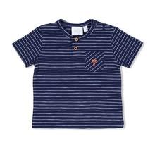 Feetje jongens T-shirt streep marine - here comes the fun