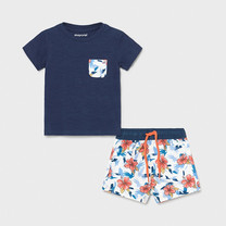 jongens set zwemshort+T-shirt blue