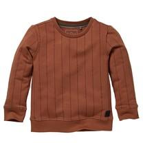 jongens trui Nero copper brown text stripe