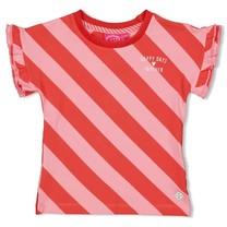 T-shirt streep diagonaal koraal - Tutti Frutti