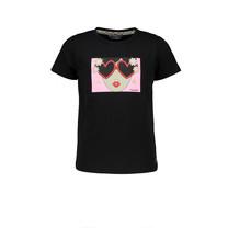 meisjes T-shirt met borstprint black