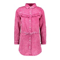 spijkerjurk met riem en ruche good pink denim