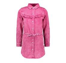 B.Nosy spijkerjurk met riem en ruche good pink denim