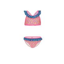 bikini Ibiza panter ao met ruche aan de bovenkant leo pink