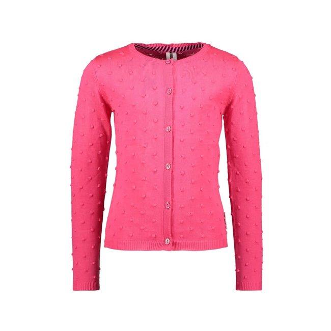 B.Nosy meisjes vest fijn jacquard gebreid met knoopsluiting knock out pink