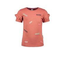 B.Nosy meisjes T-shirt met ao borduurwerk en ruches detail pale brown