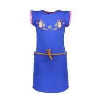 jurk met bloem borduursel op de borst cobalt blue