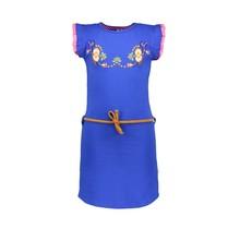 B.Nosy jurk met bloem borduursel op de borst cobalt blue