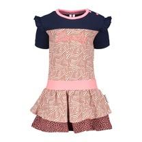 jurk met 2 laags verschillende aop rokdeel mix zebra