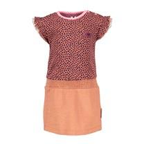 jurk met lurex jersey rokgedeelte mix dots