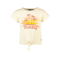 meisjes T-shirt sweat met knoop cream