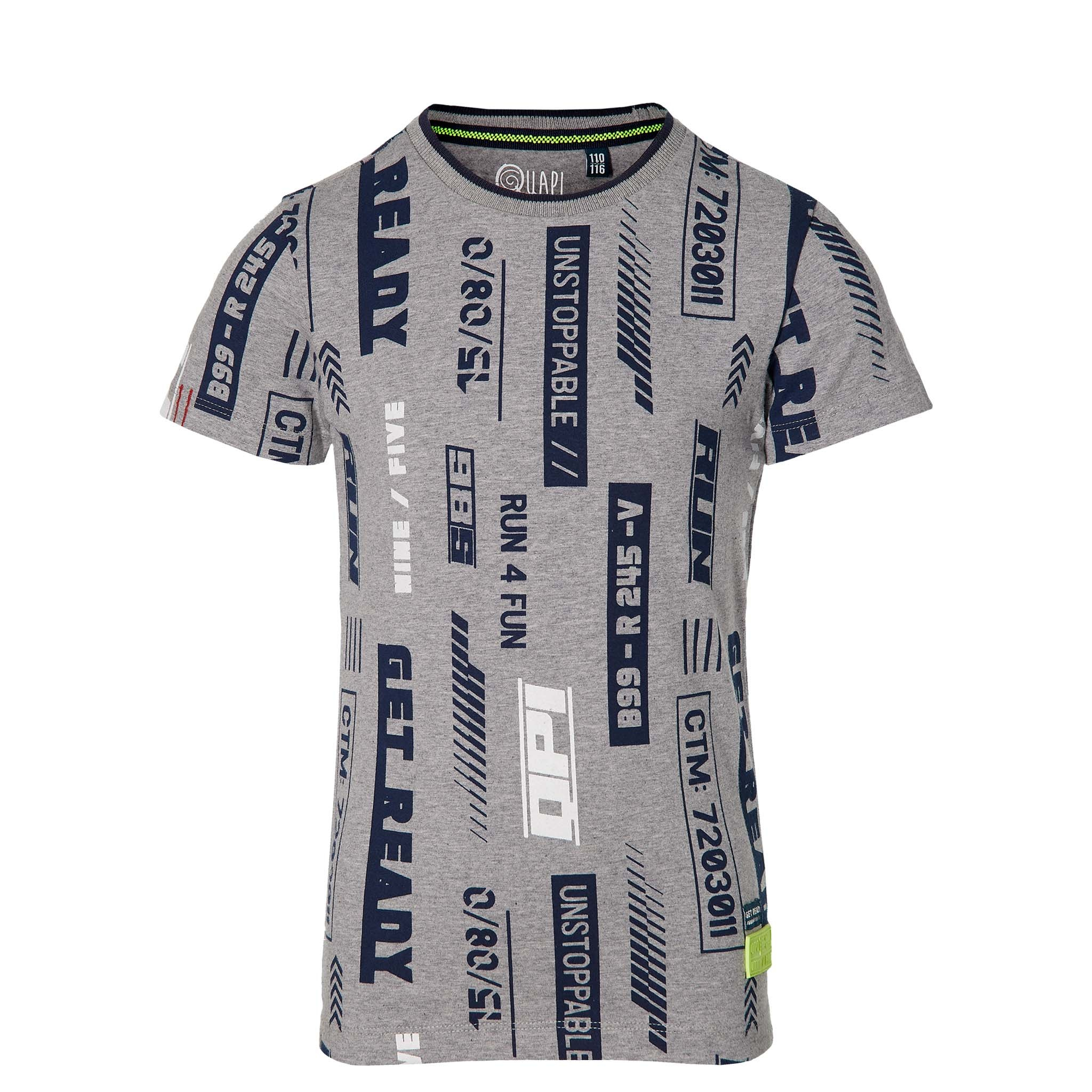 jongens T-shirt Fabiano grey melee text