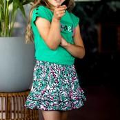 B.Nosy meisjes T-shirt met knoopjes op de schouder golf green