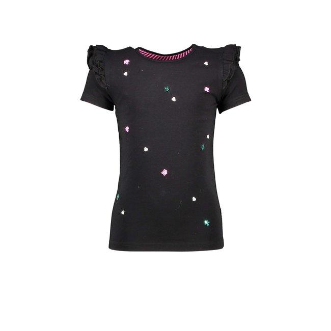 B.Nosy meisjes T-shirt met lovertjes bloemen black