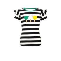 meisjes T-shirt icecream met open rug gedeelte cheer black/white stripe