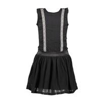 jurk met katoenen kanten ruche + rok black