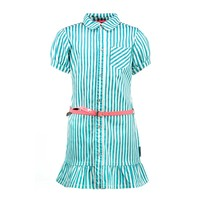 jurk met gedrukte streep en fancy riem tropical green stripe