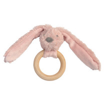 Old Pink Rabbit Richie FSC Wooden Teething Ring