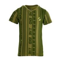 jongens T-shirt Fain aop green mid stripe