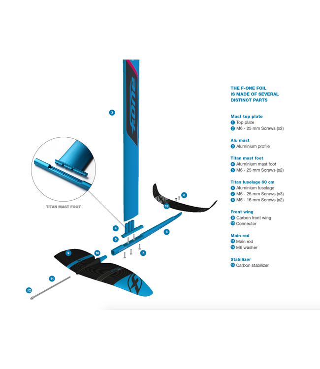 F-One F-One Mirage Kitefoil Plane 2019 (Front Wing + Stabiliser + Fuselage)