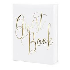 Gastenboek wit met gouden letters