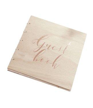 Ginger Ray Gastenboek hout met rose gouden letters