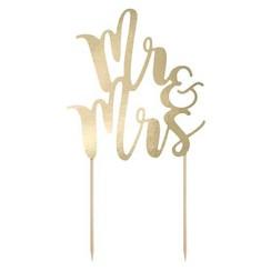 Taarttopper goud Mr & Mrs