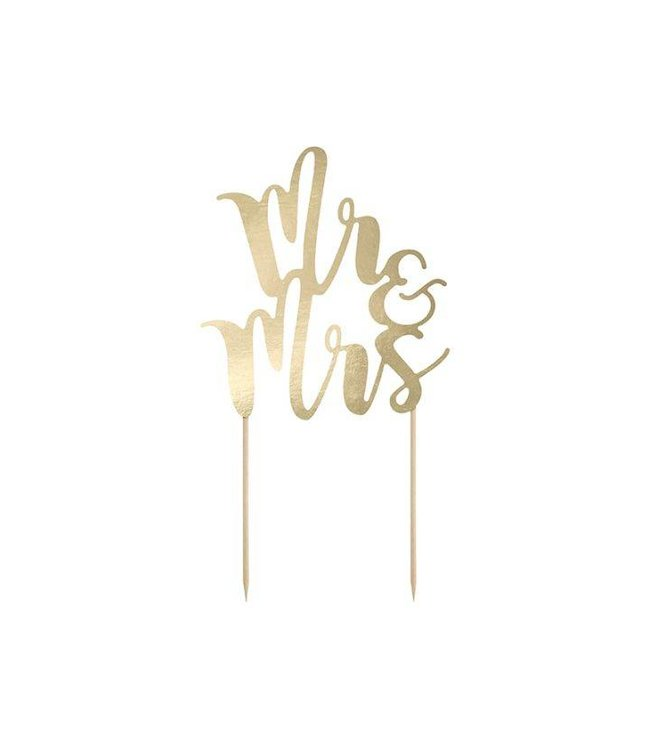 PartyDeco Taarttopper goud Mr & Mrs