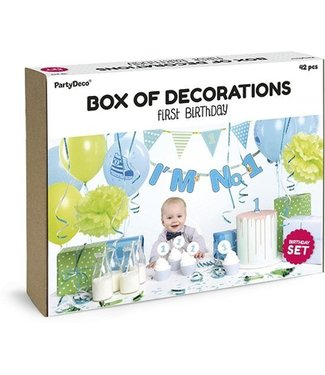 PartyDeco Feestpakket Eerste verjaardag blauw