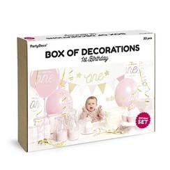 Feestpakket Eerste verjaardag roze/goud