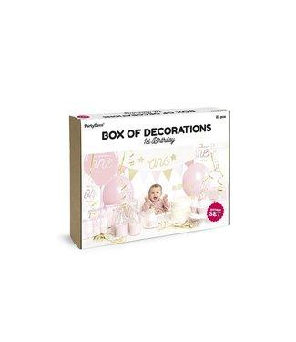 PartyDeco Feestpakket Eerste verjaardag roze/goud