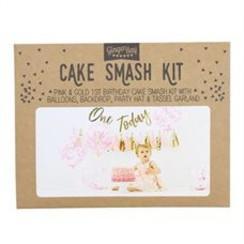 Cakesmashpakket roze - eerste verjaardag