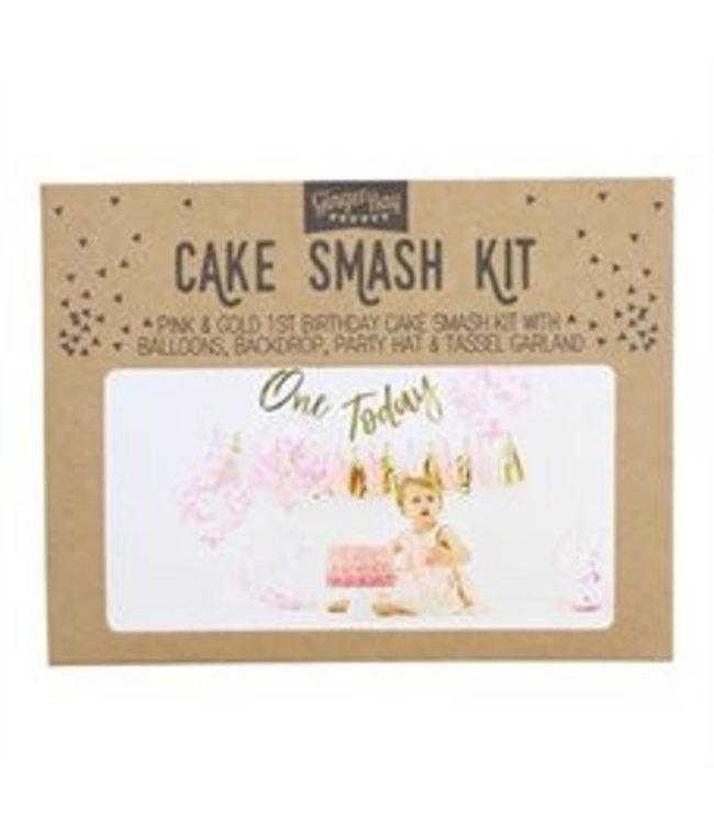 Ginger Ray Cakesmashpakket roze - eerste verjaardag