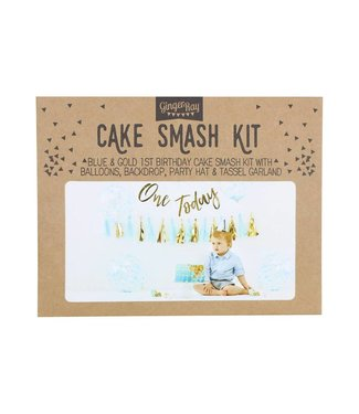 Ginger Ray Cakesmashpakket blauw - eerste verjaardag