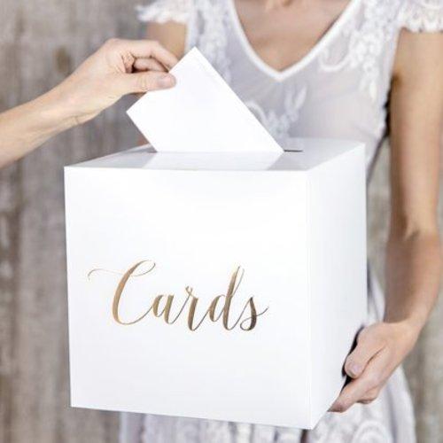 PartyDeco Enveloppendoos | wit - goud | Bruiloft | Communnie