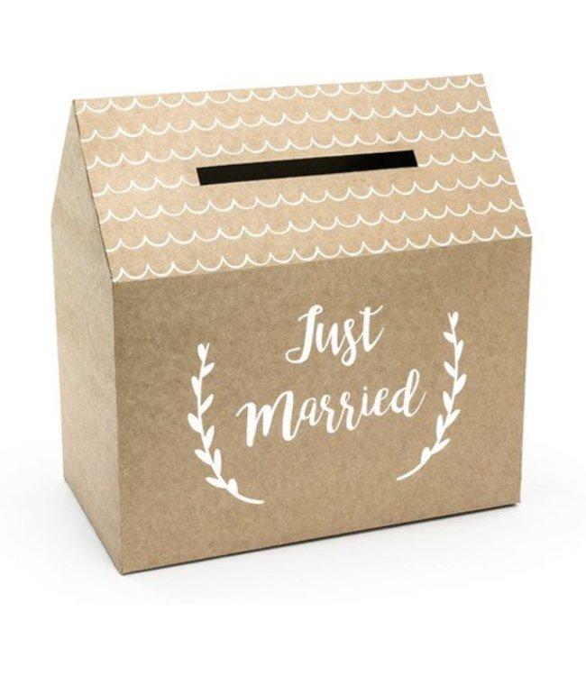 PartyDeco Enveloppendoos kraft - just married