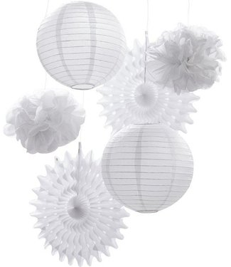 Ginger Ray Lampionnen - waaier - pom set wit