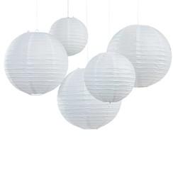 Lampionnen wit 5 stuks