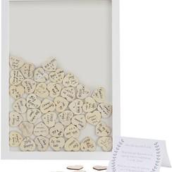 Gastenboek fotolijst met houten hartjes