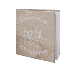 Gastenboek hout met witte letters