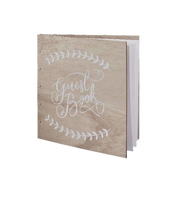 Ginger Ray Gastenboek hout met witte letters