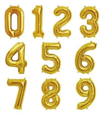 PartyDeco Folieballon cijfer 0 t/m 9 goud - 86 cm
