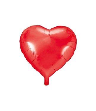 PartyDeco Hartenballon folie | Rood | 45 cm