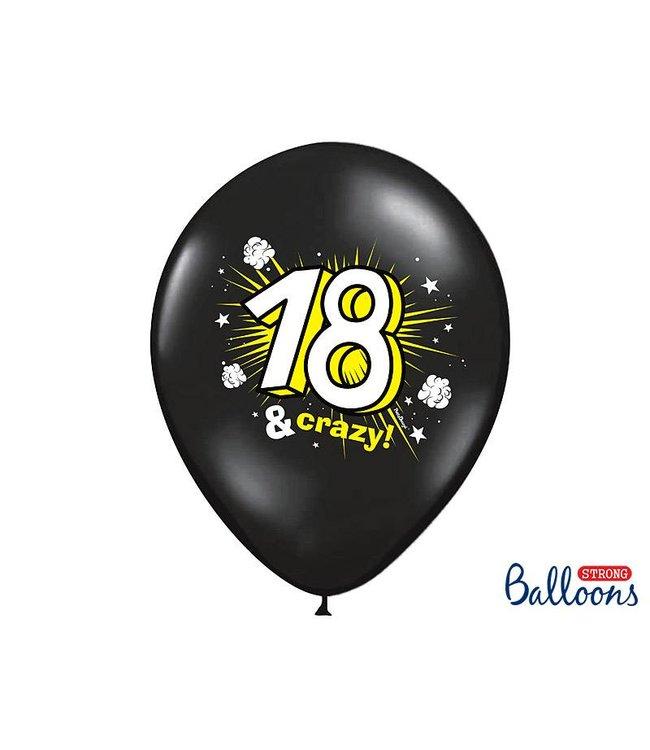 PartyDeco Ballonnen 18 & Crazy - 6 stuks