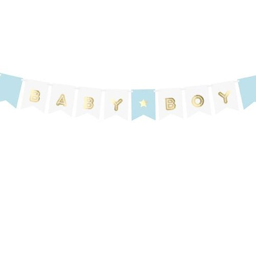 PartyDeco Slinger Babyboy - blauw - goud - wit