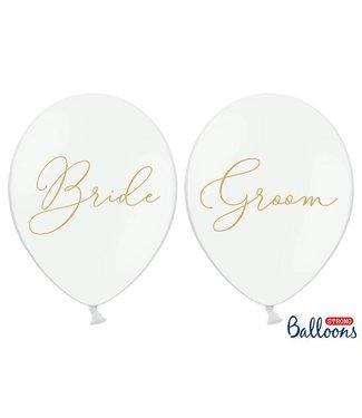 PartyDeco Ballonnen Bride - Groom wit